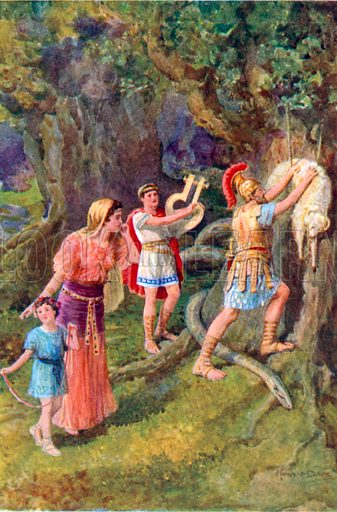 """""""Jason tore the fleece from off the tree trunk."""" Illustration for The Heroes or Greek Fairy Tales (Raphael Tuck, c 1900)."""