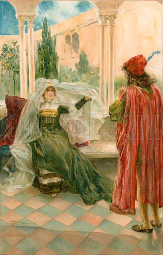 "Olivia: ""I will draw the curtain and show the picture."" Illustration for Tales from Shakespeare by Charles and Mary Lamb (Ernest Nister, c 1900)."