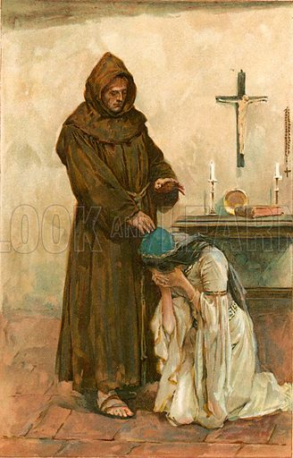 Juliet applied to the friendly friar. Illustration for Tales from Shakespeare by Charles and Mary Lamb (Ernest Nister, c 1900).