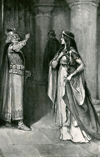 He cursed his eldest daughter Goneril. Illustration for Tales from Shakespeare by Charles and Mary Lamb (Ernest Nister, c 1900).