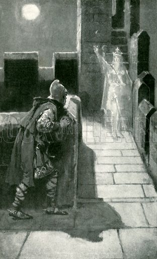 The spirit broke silence. Illustration for Tales from Shakespeare by Charles and Mary Lamb (Ernest Nister, c 1900).