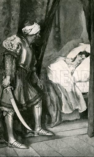Othello resolved she should die. Illustration for Tales from Shakespeare by Charles and Mary Lamb (Ernest Nister, c 1900).