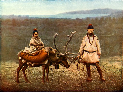 A little Lapp and his reindeer. Illustration for The Wonder Book of Children (Ward Lock, c 1910).