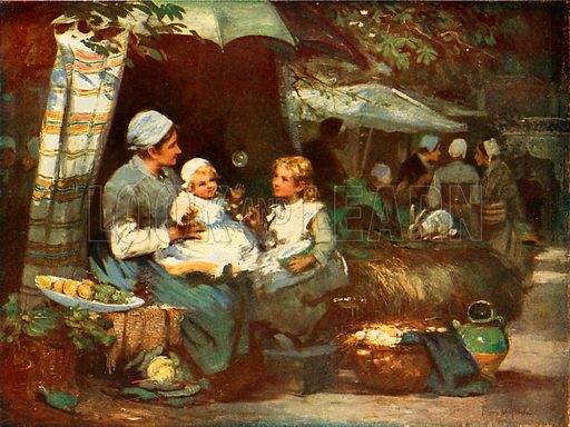 Children and chatter. Illustration for The Wonder Book of Children (Ward Lock, c 1910).