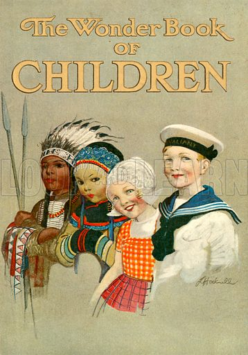 Cover of The Wonder Book of Children.  Illustration for The Wonder Book of Children (Ward Lock, c 1910).