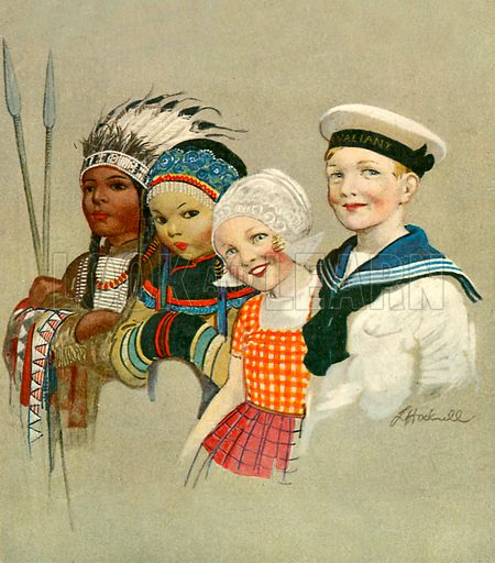 Children of different nations.  Illustration for the cover of The Wonder Book of Children (Ward Lock, c 1910).