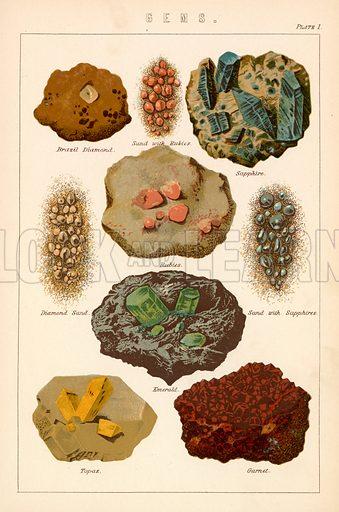Gems. Illustration from The National Encyclopaedia (William Mackenzie, c 1870).