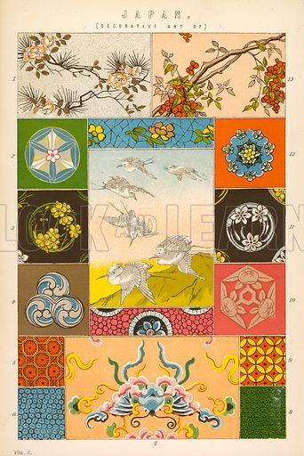Decorative art of Japan. Illustration from The National Encyclopaedia (William Mackenzie, c 1870).