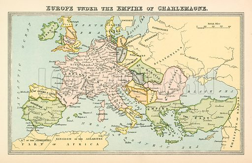 Europe under the Empire of Charlemagne. Illustration from The National Encyclopaedia (William Mackenzie, c 1870).
