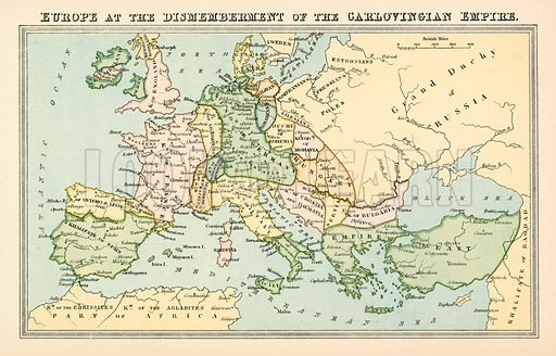 Europe at the Dismemberment of the Carlovingian Empire. Illustration from The National Encyclopaedia (William Mackenzie, c 1870).