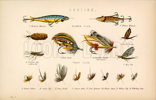 Angling. Illustration from The National Encyclopaedia (William Mackenzie, c 1870).