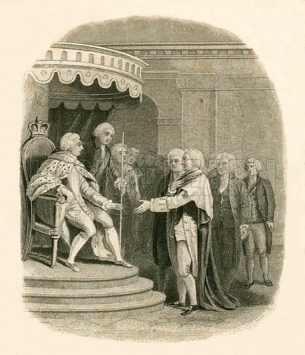 Beckford's reply to the King. Illustration for The History of England by Hume and Smollett (George Bell, 1854).