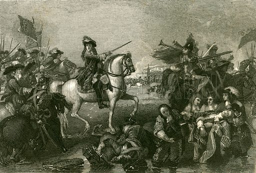 Battle of the Boyne. Illustration for The History of England by Hume and Smollett (George Bell, 1854).