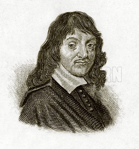 Descartes.  Illustration for The Universal Historical Dictionary by George Crabb (Baldwin, 1825).