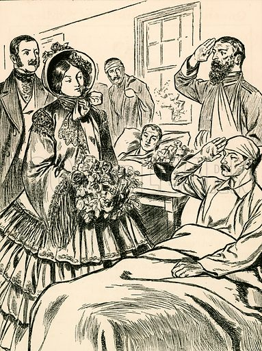 Queen Victoria visits her wounded soldiers. Illustration for My Book of True Stories (Blackie, c 1910).