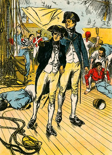 """Nelson on the """"Victory"""" at Trafalgar. Illustration for My Book of True Stories (Blackie, c 1910)."""