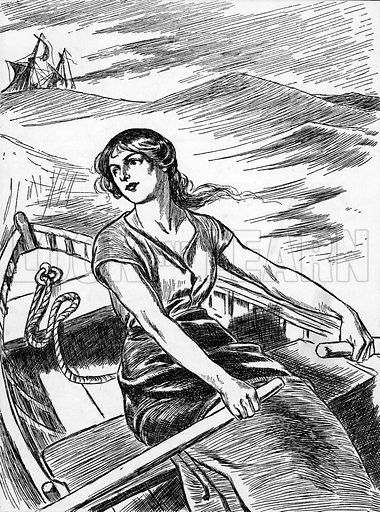 Grace Darling rows out to the wreck. Illustration for My Book of True Stories (Blackie, c 1910).