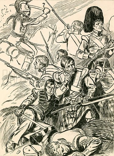 British Soldiers at the Battle of Waterloo. Illustration for My Book of True Stories (Blackie, c 1910).