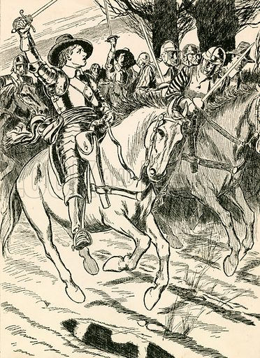 Cromwell leads his ironsides to Battle. Illustration for My Book of True Stories (Blackie, c 1910).