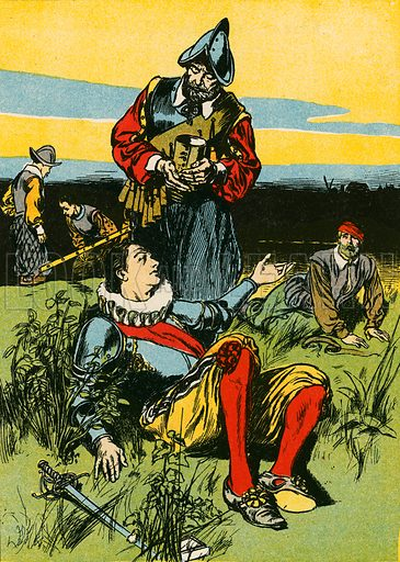Sir Philip Sidney and the dying soldier. Illustration for My Book of True Stories (Blackie, c 1910).