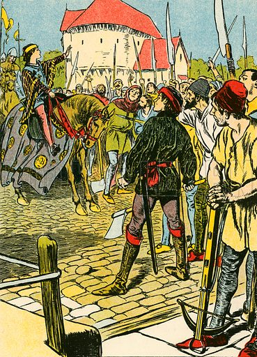 Young King Richard quells the rebellion. Illustration for My Book of True Stories (Blackie, c 1910).