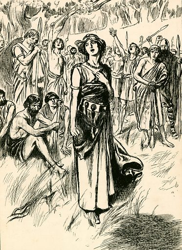 Queen Boadicea and her soldiers. Illustration for My Book of True Stories (Blackie, c 1910).