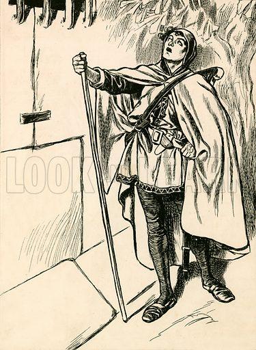 Blondel sings beneath Richard's window. Illustration for My Book of True Stories (Blackie, c 1910).