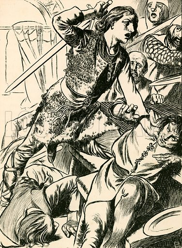 Hereward and his men attack the Normans. Illustration for My Book of True Stories (Blackie, c 1910).