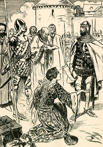 Queen Philippa pleads for the men of Calais. Illustration for My Book of True Stories (Blackie, c 1910).