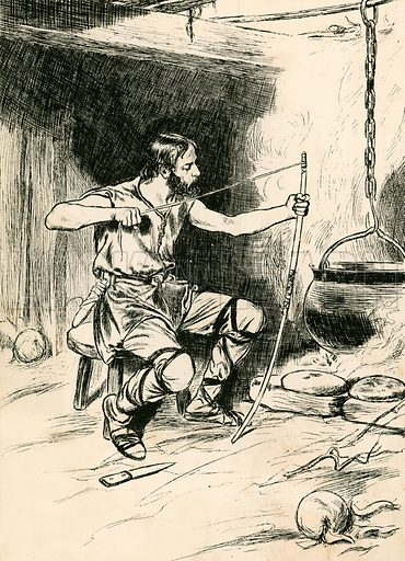 King Alfred forgets the cakes. Illustration for My Book of True Stories (Blackie, c 1910).