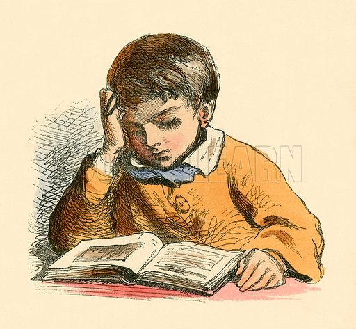Boy reading.  Illustration for The Home Treasury of Old Story Books (Sampson Low, 1859).