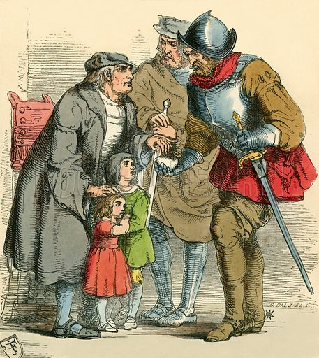 The children taken away by the Ruffians. Illustration for The Home Treasury of Old Story Books (Sampson Low, 1859).