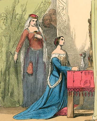 The Queen offering the poison to Fair Rosamond. Illustration for The Home Treasury of Old Story Books (Sampson Low, 1859).