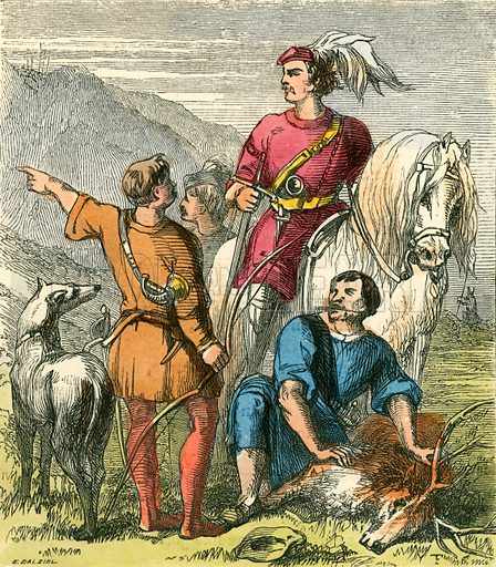Earl Percy hunting in Chevy Chase. Illustration for The Home Treasury of Old Story Books (Sampson Low, 1859).