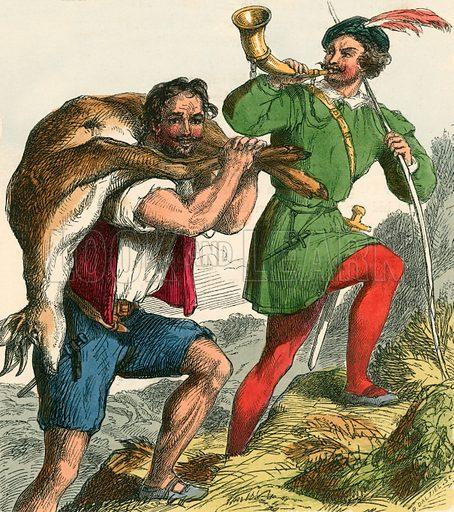 Robin Hood and Little John taking home the fat buck