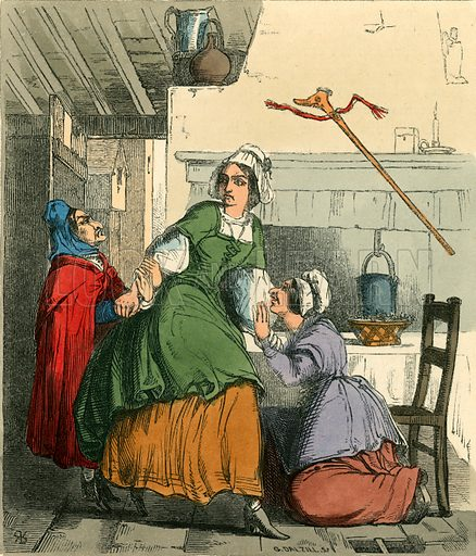 The old woman saving Nell from her sister's anger. Illustration for The Home Treasury of Old Story Books (Sampson Low, 1859).