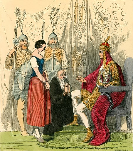 Rosetta brought before the king. Illustration for The Home Treasury of Old Story Books (Sampson Low, 1859).
