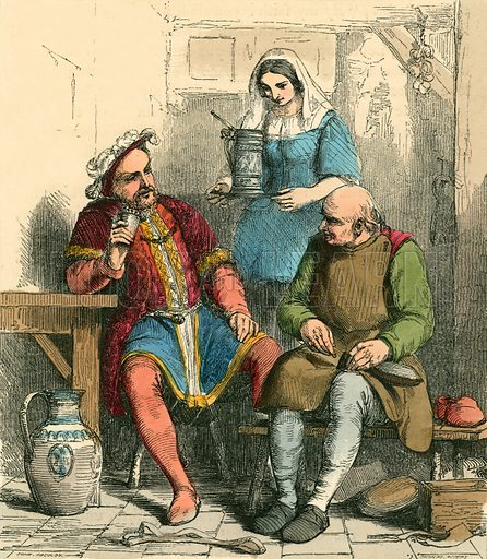 The king drinking with the Cobbler. Illustration for The Home Treasury of Old Story Books (Sampson Low, 1859).