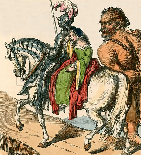 Sir Bevis and Josyan leading Ascapart. Illustration for The Home Treasury of Old Story Books (Sampson Low, 1859).