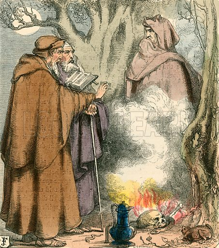 Friar Bacon and Friar Bungay. Illustration for The Home Treasury of Old Story Books (Sampson Low, 1859).