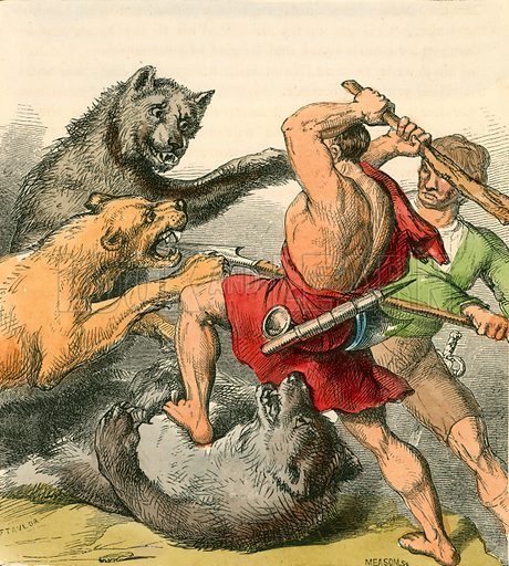Tom and the Tinker killing the bears and lions. Illustration for The Home Treasury of Old Story Books (Sampson Low, 1859).