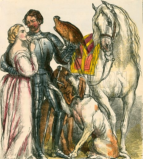 Guy showing his prizes to the fair Felice. Illustration for The Home Treasury of Old Story Books (Sampson Low, 1859).