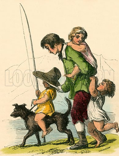 Peter playing with the children. Illustration for The Home Treasury of Old Story Books (Sampson Low, 1859).