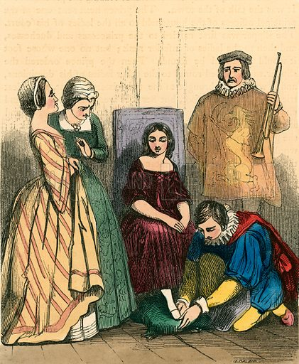 Cinderella fitting on the glass slipper. Illustration for The Home Treasury of Old Story Books (Sampson Low, 1859).