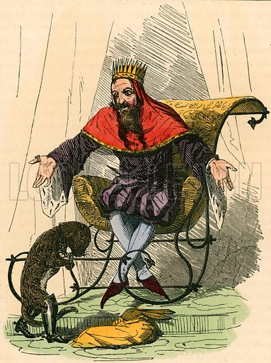 Puss presents the rabbit to the king. Illustration for The Home Treasury of Old Story Books (Sampson Low, 1859).
