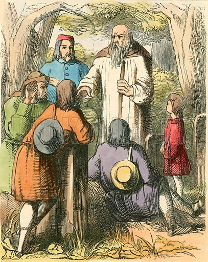Dick Whittington listening to the villagers. Illustration for The Home Treasury of Old Story Books (Sampson Low, 1859).