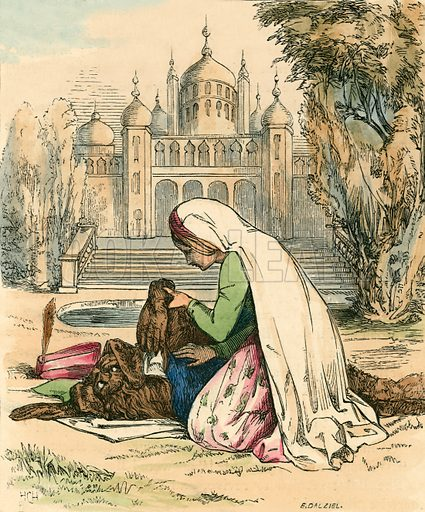 Beauty discovering the beast in the garden. Illustration for The Home Treasury of Old Story Books (Sampson Low, 1859).