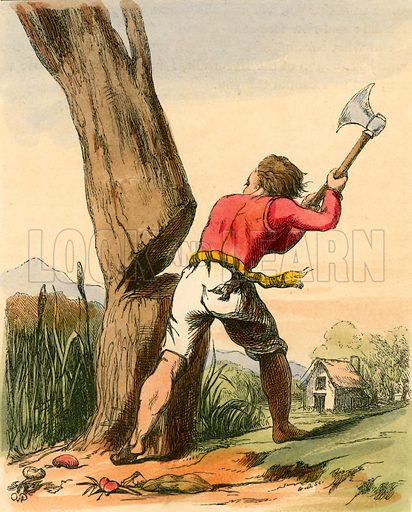 Jack cutting down the Beanstalk. Illustration for The Home Treasury of Old Story Books (Sampson Low, 1859).