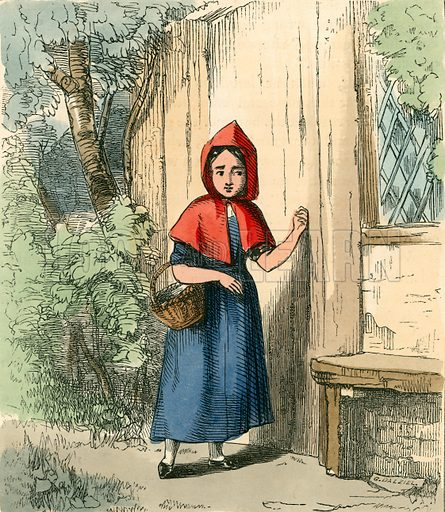 Tapping at her grandmother's door. Illustration for The Home Treasury of Old Story Books (Sampson Low, 1859).
