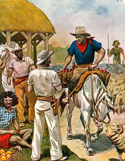 Australian farmers. Illustration for Storia de Costume dei Popoli by Paolo Lorenzini (Nerbini, 1934).